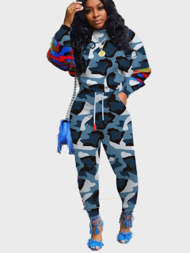 Camo Sweatshirt + Jogger Women Set with Taping