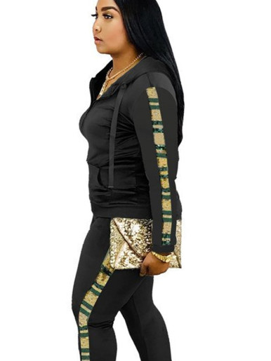 Sequin Taping Detail Hoodie + Jogger Women Set