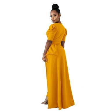 Sexy Front Split Long Dresses Women Deep V Neck Fit and Flare Summer Dress 2020 Causal Short Sleeve High Waist Solid Maxi Dress
