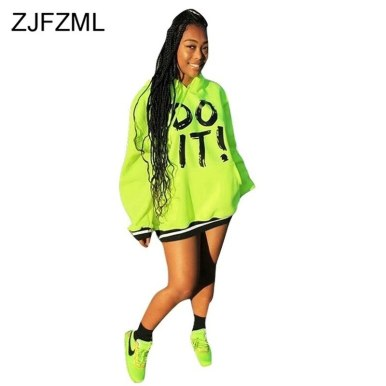 Letter Print Sexy Neon Green Dress Women Hooded Side Pockets Plus Size Dresses Spring 2020 Long Sleeve Mini Loose Causal Dress