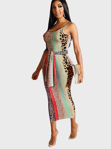 Contrast Leopard Print Women Tank Midi Dress