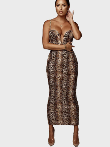 Sweetheart Neckline Women Midi Dress In Snake
