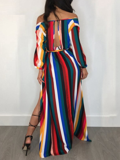 Wrap Front Maxi Dress In Rainbow Stripe with High Split