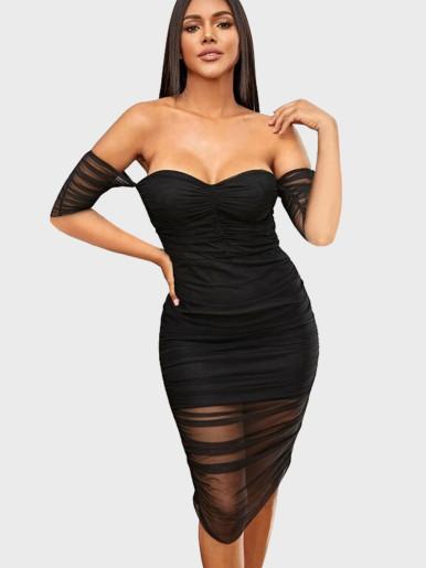 Mesh Sweetheart Off Shoulder Ruched Midi Dress