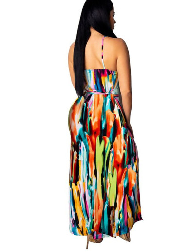 Colourful Tie Dye Maxi Cami Dress with Double Split