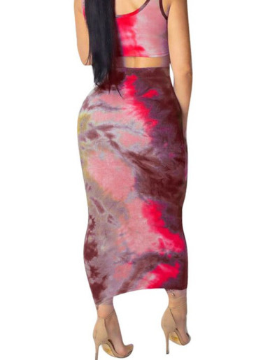 Tie Dye Crop Tank Top + Midi Skirt Summer Women Set