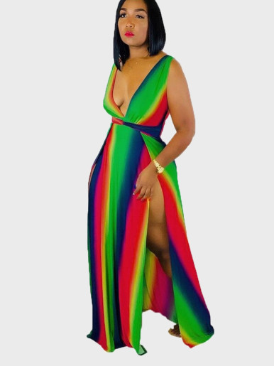 Rainbow Tie Dye Maxi Dress with Plunge and High Split