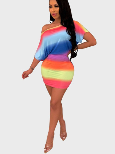 Slash Neck Mini Dress In Rainbow Stripe