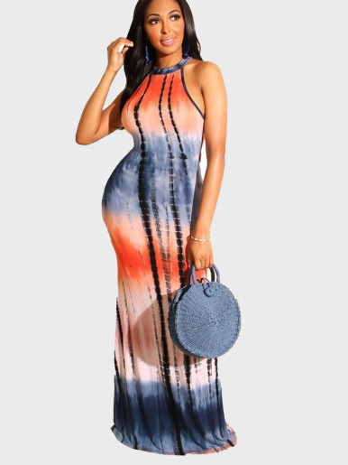 Fishtail Maxi Dress In Tie Dye