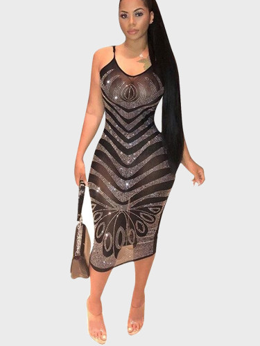 Patterned Rhinestone Sheer Mesh Midi Dress