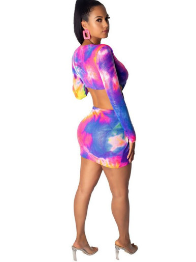 Plunge Front Cut Out Mini Dress In Bright Tie Dye