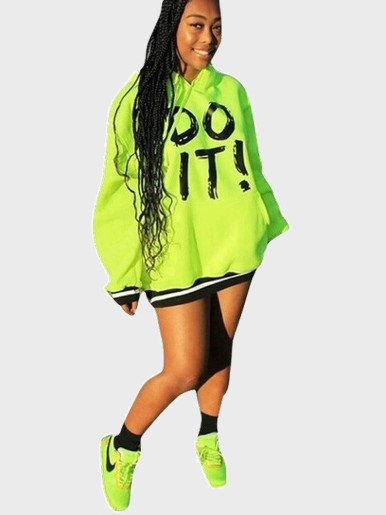Neon Green Women Hoodie with Stripe Trim and Pocket