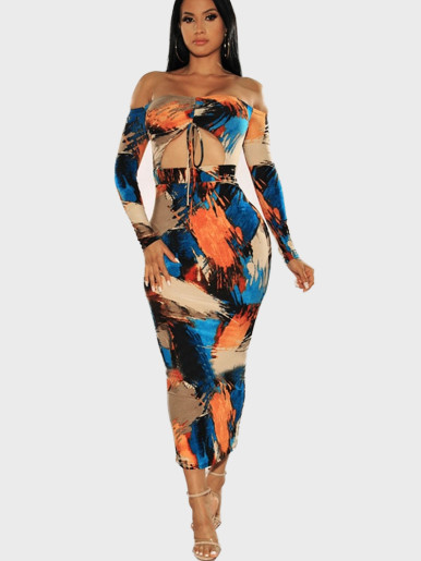 Tie Dye Off Shoulder Maxi Dress with Tie Front and Cut Out