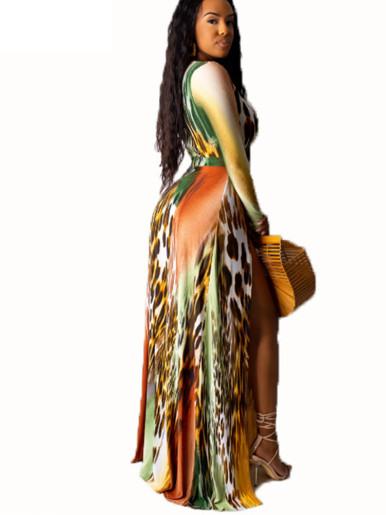 Deep Plunge High Split Front Long Sleeve Maxi Dress In Tie Dye