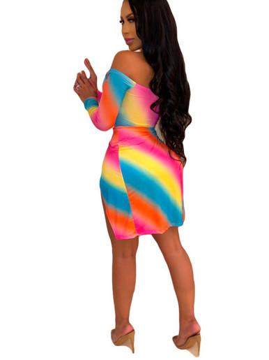 Twist Front Double Split Off Shoulder Mini Dress In Rainbow Stripe