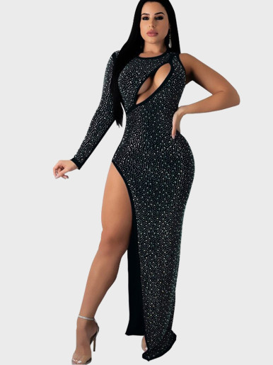 Shiny Rhinestone Maxi Dress with Cut Out and Split Side