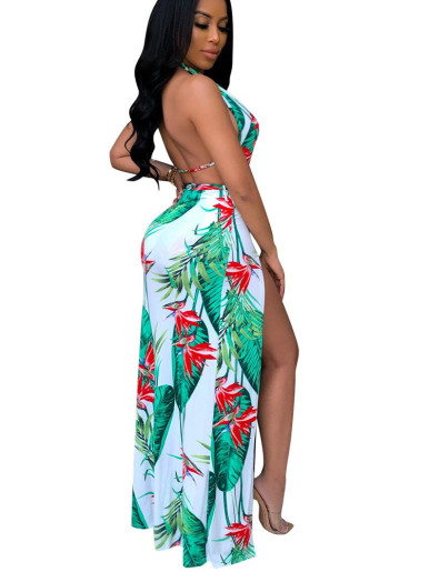 Printed Deep Plunge Maxi Dress with Open Back and High Split