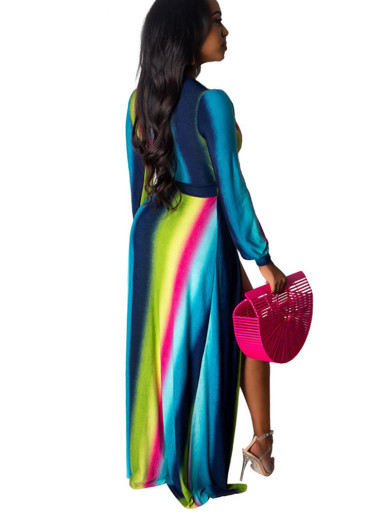 Rainbow Stripe Maxi Dress with Deep Plunge and High Split