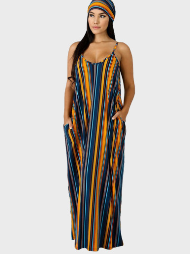 Striped Draped Maxi Dress with Self Belt