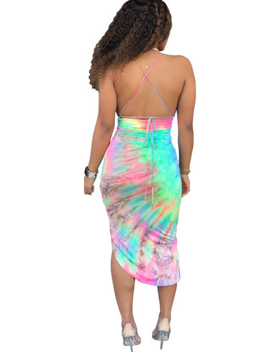 Tie Dye V Neck Ruched Midi Dress