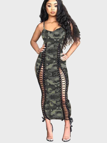 Lattice Detail Halter Maxi Dress In Camo