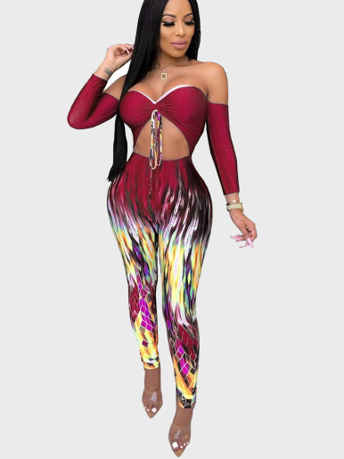 Cut Out Women Jumpsuit with Tie Dye Leg