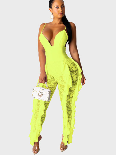 Women Bodice Jumpsuit with Lace Leg