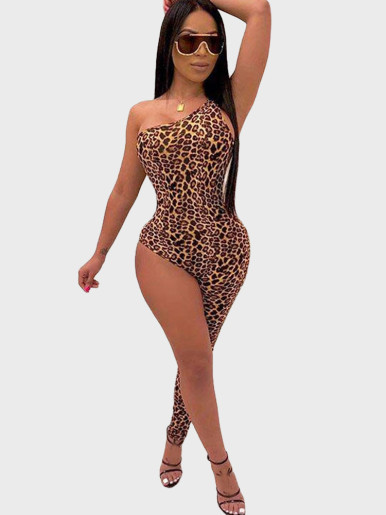 Animal Skin Print One Shoulder Women Jumpsuit with One Leg