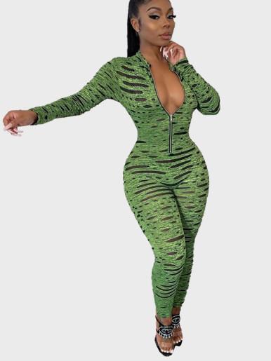 Space Dye Zipper Women Jumpsuit In Spot Print