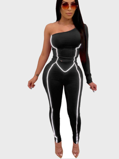 One Shoulder Women Jumpsuit with Reflective Tipping