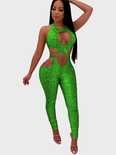 Cross Front Cut Out Women Jumpsuit In Snake