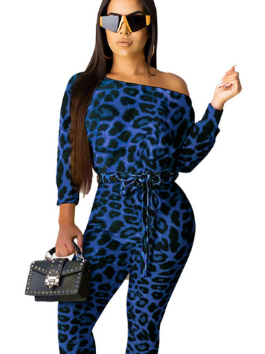 Slash Neck Women Jumpsuit In Leopard