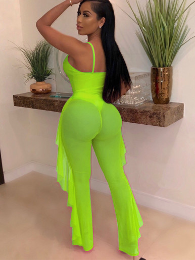Cut Out Bodysuit Top + Mesh Pants Women Set
