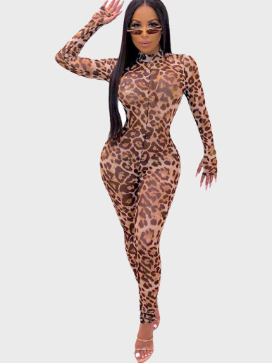 High Neck Women Jumpsuit In Leopard