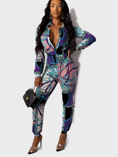 All Over Print Long Sleeve Women Jumpsuit