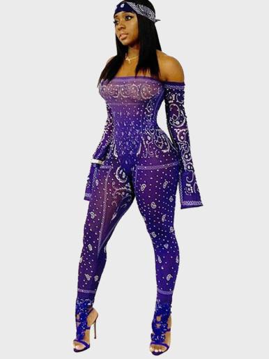 Paisley Print Mesh Off Shoulder Women Jumpsuit