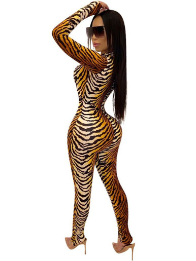 Deep Plunge Women Jumpsuit with Thumb Hole In Tiger Print