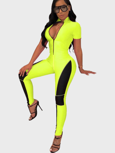 Zipper Women Jumpsuit with Stitching and Taping