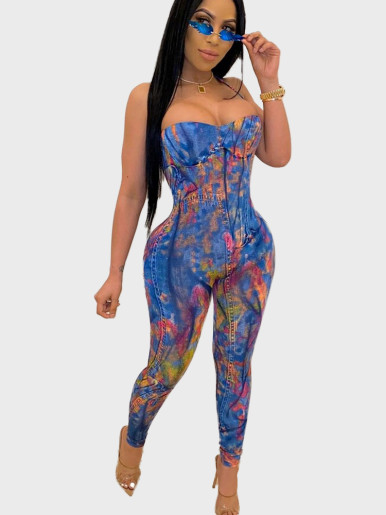 Calico Print Cross Back Women Jumpsuit