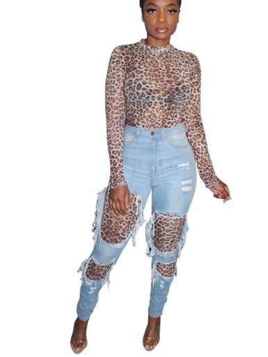 Long Sleeve Women Jumpsuit In Leopard / Snake