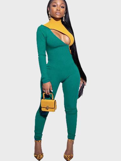 Contrast Sleeve Women Jumpsuit