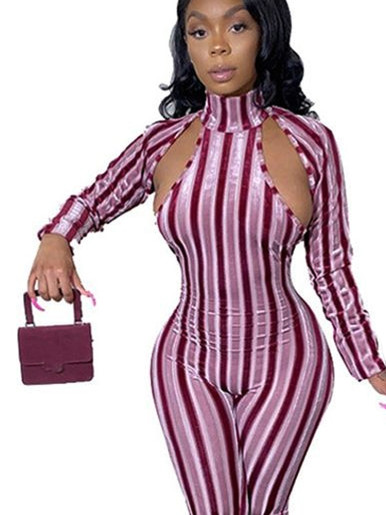 High Neck Striped Women Jumpsuit with Cut Out Detail