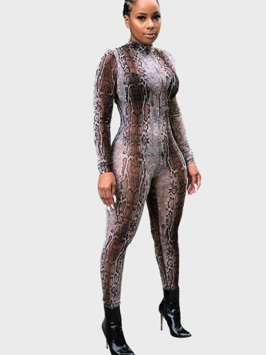 Long Sleeve Women Jumpsuit In Leopard / Snake