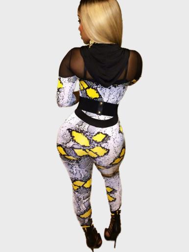 Mesh Insert Hooded Women Jumpsuit In Animal Print