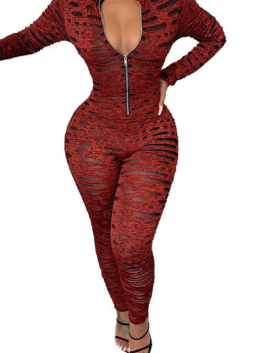 Space Dye Zipper Women Jumpsuit In Spot Print