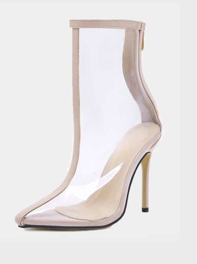 OneBling Pointed Toe Clear Stilettos Ankle Boots /12CM