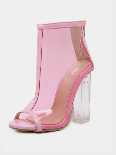 OneBling Summer Women Boots Sexy PVC Jelly Transparent Sandals Peep Toe Shoes Woman Chunky Clear Heels Sandals Ladies Sandals