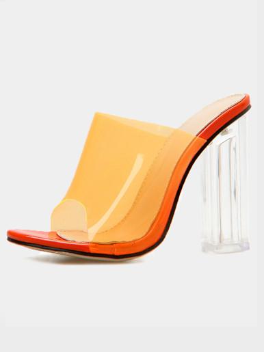 OneBling Plus Size Peep Toe Clear Block Heeled Mules /11.5CM