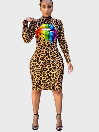Leopard Midi Dress with High Neck and Rainbow Lip
