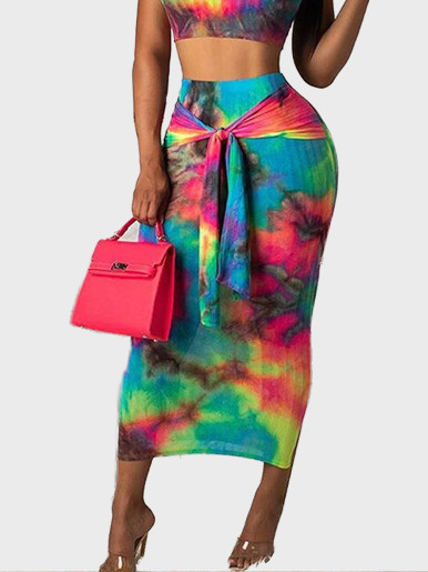 Crop Tank Top + Maxi Skirt Tie Dye Women Set